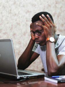 black man stressed